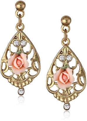Michael Kors 1928 Jewelry Gold-Tone Color Porcelain Rose with Crystal Accent Filigree Drop Earrings