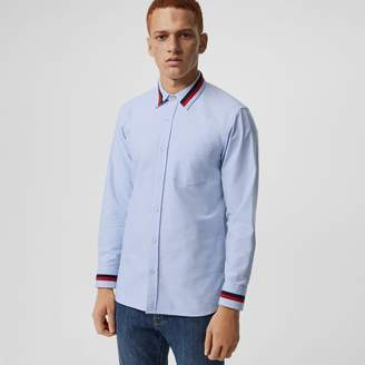 Burberry Knitted Detail Cotton Oxford Shirt