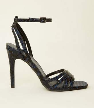 New Look Blue Faux Snakeskin Strappy Stilettos