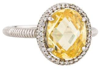Judith Ripka Sapphire & Canary Crystal Oval Ring