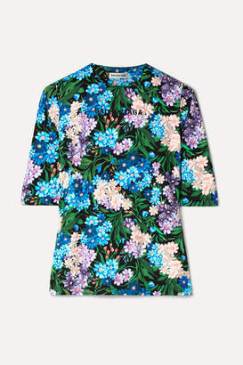 Balenciaga Floral-print Stretch-jersey Top - Blue