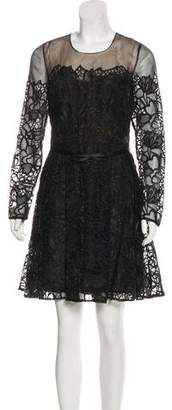 Marchesa Sheer Embroidered Dress