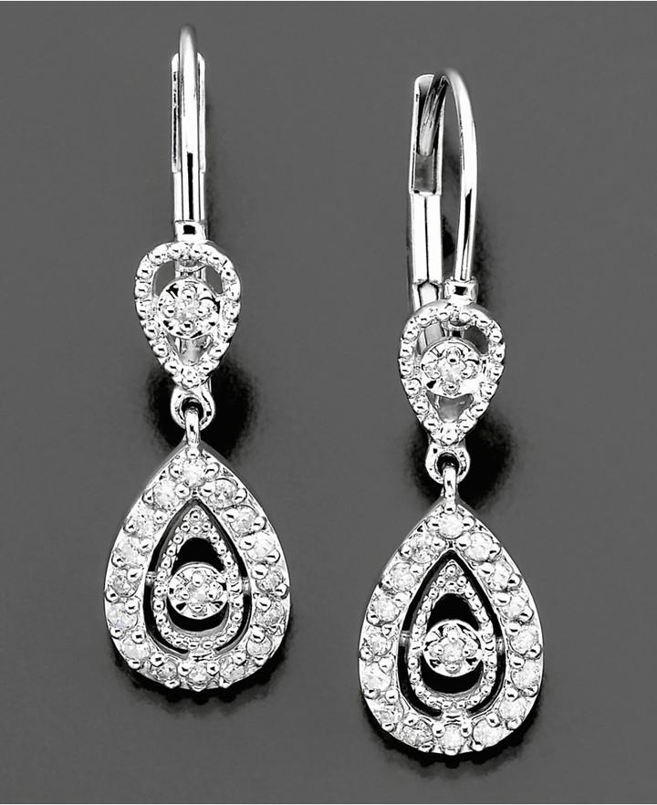 Macy's Diamond Earrings, 14k White Gold Diamond (1/6 ct. t.w.) Pear Drop