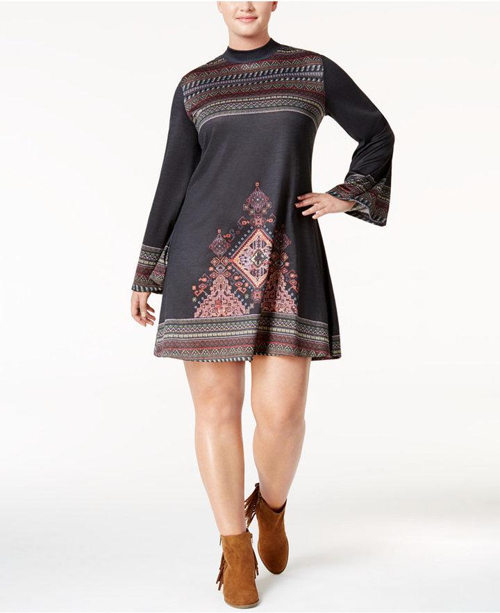 American RagAmerican Rag Trendy Plus Size Mock-Neck Peasant Dress, Only at Macy's