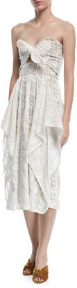 Neiman Marcus Johanna Ortiz Alas De Angel Strapless Bustier Eyelet Lace Dress
