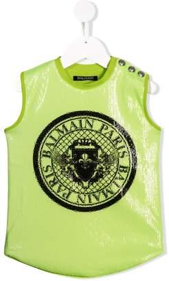 Balmain Kids logo sequinned tank top