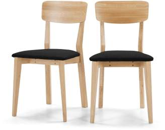 Set of 2 Jenson Dining Chairs, Oak and Dark Grey