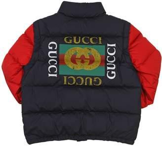 Gucci (グッチ) - GUCCI ロゴプリント ナイロンダウンジャケット