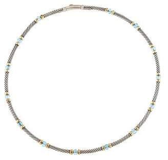 David Yurman Blue Topaz Station Cable Necklace