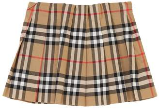 Burberry Pleated Check Cotton Muslin Skirt