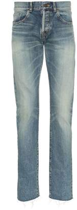 Saint Laurent Distressed straight leg jeans