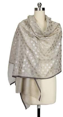 Saachi Silver Metallic Dots Wool Blend Scarf