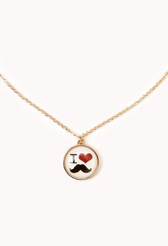 Forever 21 I Heart Mustache Necklace