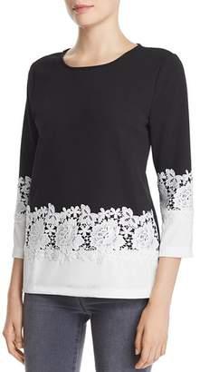 Karl Lagerfeld Paris Lace-Trimmed Color-Block Top