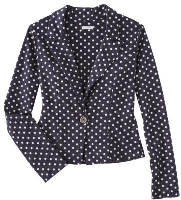 Xhilaration Juniors Knit Blazer - Blue Polka Dots