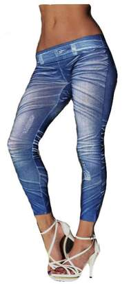 ALIMPIA Skinny Jeans Denim Universal Printed Leggings Tights One Size Fits All blue