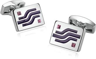 MoAndy Stainless Steel Cuff Links for Mens Square Geometry Lines Crystal