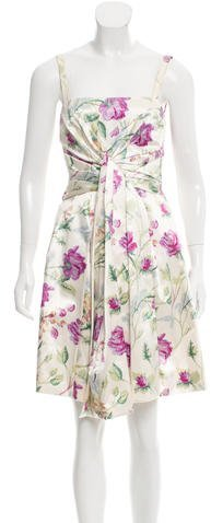 Christian Dior Ruche-Accented Floral Print Dress