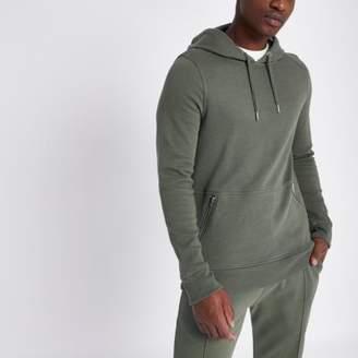 River Island Dark green side zip pocket muscle fit hoodie
