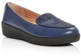 FitFlop Women's Crystal-Embellished Leather Sneaker Loafer