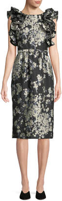 Co Ruffled Sleeveless Metallic Floral-Brocade Cocktail Dress w\/ Lace-Up Back