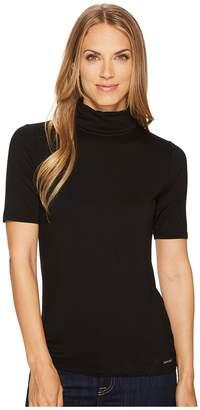 MICHAEL Michael Kors Short Sleeve Solid Mock Neck Women's Clothing