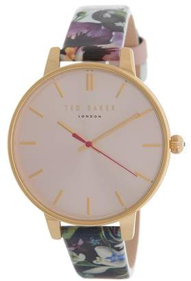 Ted Baker Women's Floral Print Leather Strap Watch, 38mm