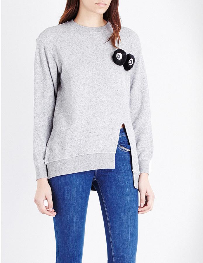 MO&CO. 'Furry Eyes' side-split jersey jumper