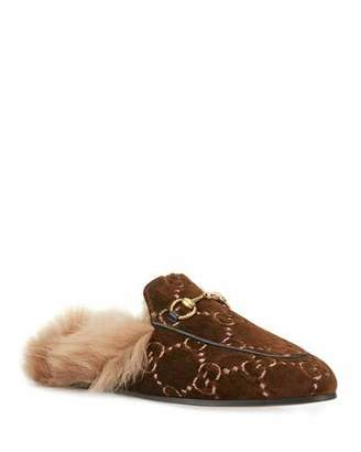 37b1683c410 Gucci Flat Princetown Velvet GG Mule With Fur