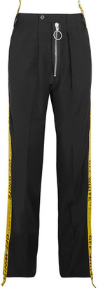 Off-White - Canvas-trimmed Wool Wide-leg Pants - Black $995 thestylecure.com