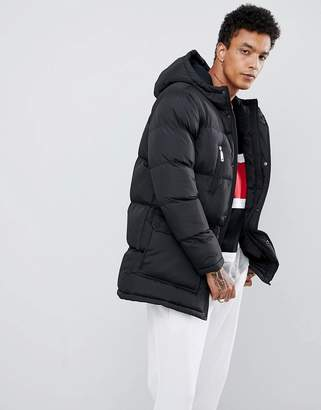 Criminal Damage longline puffer jacket in black
