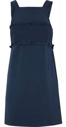 Tibi Ruffle-Trimmed Shirred Cady Mini Dress