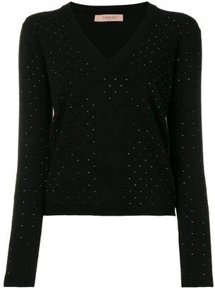 Twin-Set crystal-embellished sweater