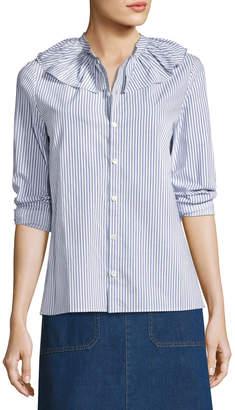 A.P.C. Sixtine Striped Ruffle-Collar Blouse, Blue