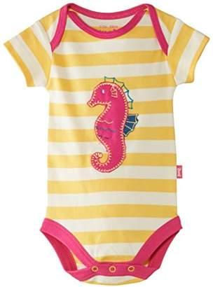 Kite Baby-Girls Seahorse Striped Round Collar Short Sleeve Bodysuit,0-3 Months