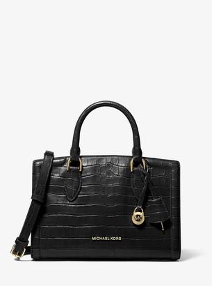 MICHAEL Michael Kors Zoe Medium Crocodile-Embossed Leather Satchel