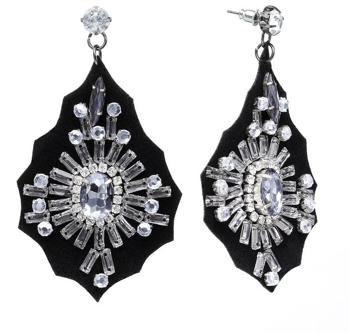 Candie's® designed by britney silver-tone simulated crystal beaded drop earrings