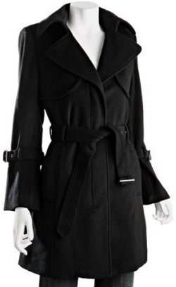 Hilary Radley Hilary Radley New York black wool blend belted trench
