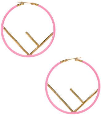 Fendi Logo Hoop Earrings in Fluo Pink | FWRD