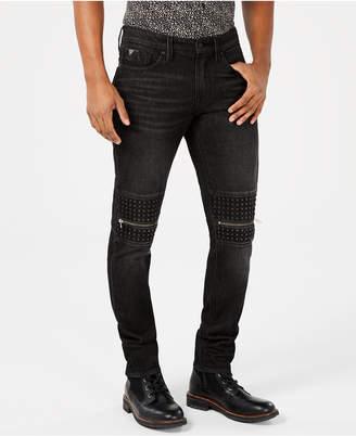 GUESS Men Slim-Fit Moto Jeans
