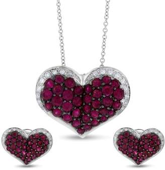Effy 14k White Gold 2.58 Ct. Ruby & Diamond Heart Pendant & Earrings Set