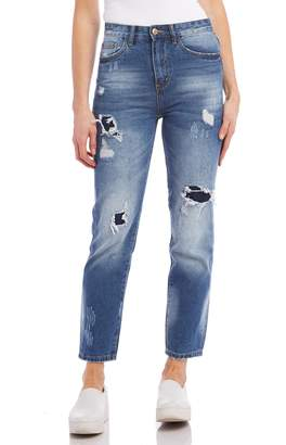 Karen Kane Ripped High Waist Girlfriend Jeans