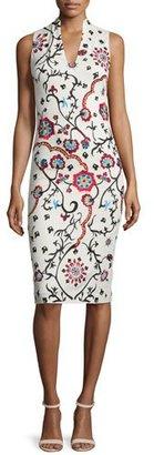 Alice + Olivia Jacki Sleeveless Embroidered Sheath Dress, White/Multicolor $598 thestylecure.com