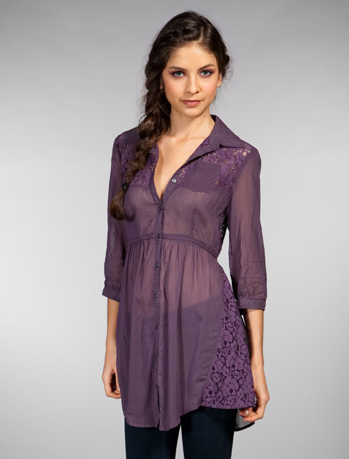 Free People Buttonup Lace Pocket Tunic