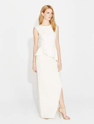 Halston Shimmer Knit Ruffle Detail Gown