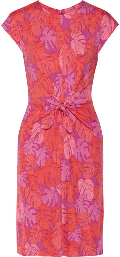 Issa Tie-front printed jersey dress
