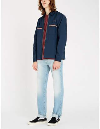Stussy Striped-pocket embroidered-logo cotton-blend jacket