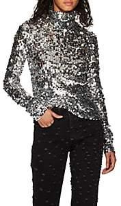 MM6 MAISON MARGIELA Women's Sequined Half-Zip Top - Silver