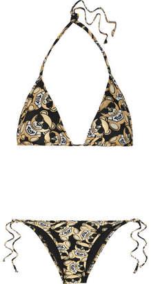 Moschino Metallic Printed Triangle Bikini - Black