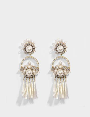 Shourouk Malena White Earrings in White Brass, Raffia, Swarovski Crystals and Pearls